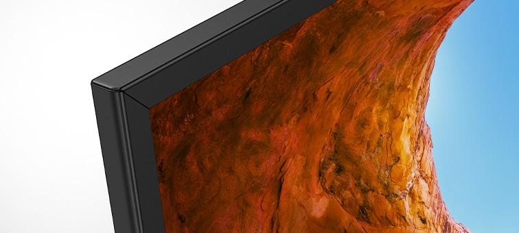 Close-up of narrow aluminum bezel