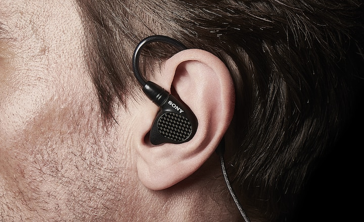 Close up of IER-M9 snug fit in someone's ear