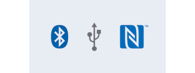 Bluetooth®, USB and NFC logos