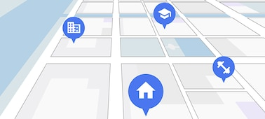 Satnav-style street map showing points of interest