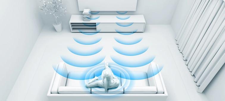Image showing soundwaves with room optimization