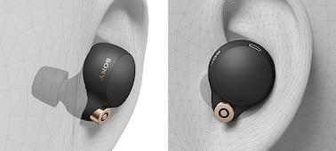 WF-1000XM4 headphone in an ear illustrating its ergonomic design