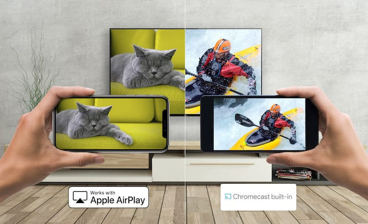 An Android and smartphone casting media to Sony TV with Apple AirPlay and Chromecast