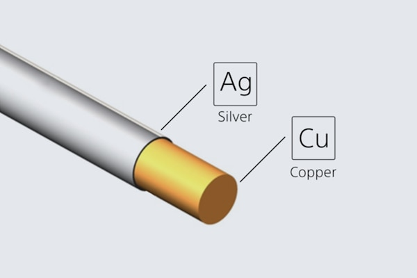 Illustration of a silver-coated oxygen-free copper cable