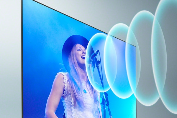 Bravia Full Array LED TV with image of female musician singing and sound waves emerging from the TV