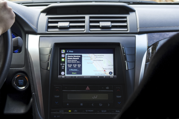 XAV-AX5000 displaying directions Apple CarPlay