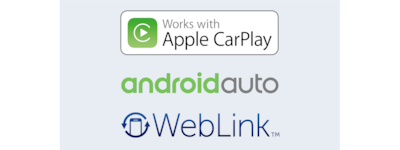 Logos for Apple CarPlay, Android Auto and WebLink