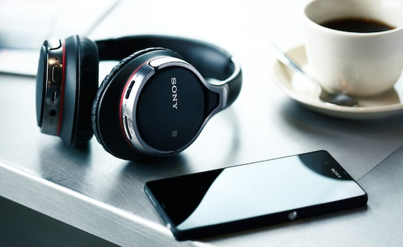Black Bluetooth headphones with phone from Sony