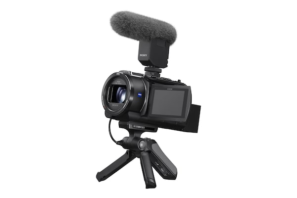 Image of the Sony Handycam with an external microphone