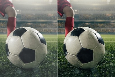 Two images comparing picture quality of a soccer ball on-pitch in front of a player' foot