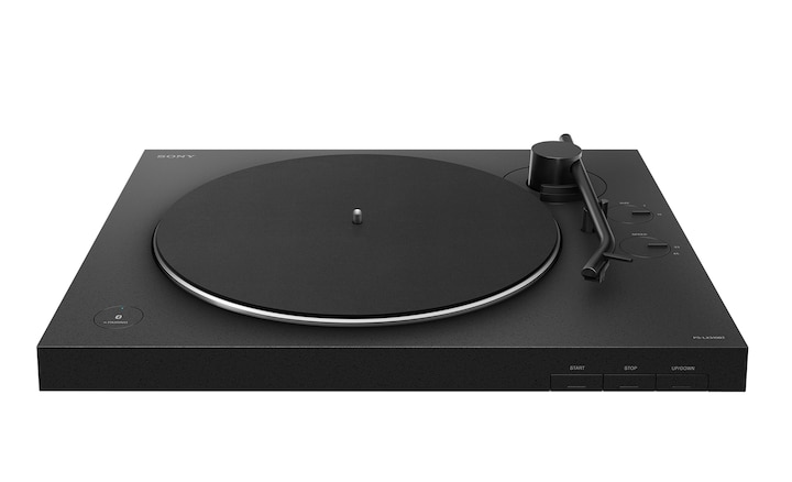 Front view showing the sleek design of the BLUETOOTH turntable