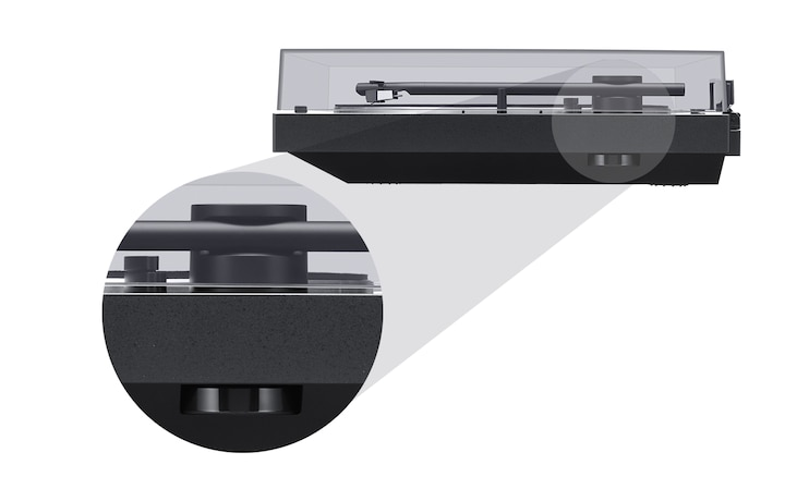 Side view of the BLUETOOTH vinyl record player, with a detail view of the 45 rpm adaptor disk