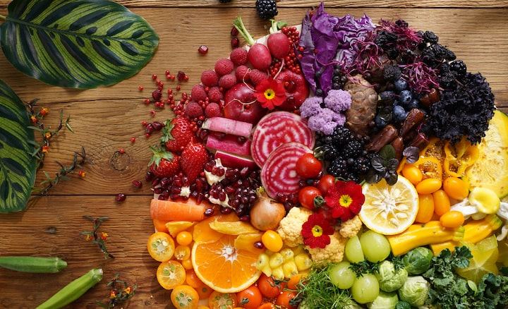 Image of colourful vegetables and fruits taken with this lens at high resolution in every corner