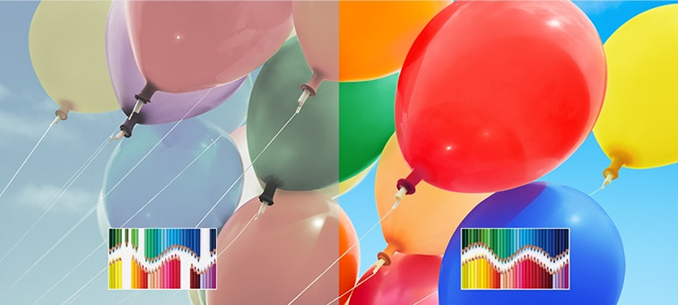 Image of balloons showing enhanced colours of TRILUMINOS™ Display