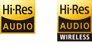 Hi-Res Audio and Hi-Res Audio wireless logos